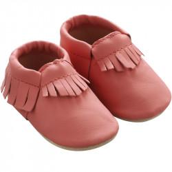 Chaussons-bebe-à-franges-rose-corail-profil