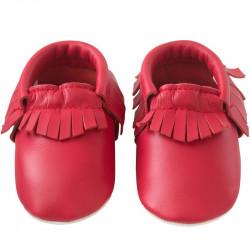 Chaussons-bebe-à-franges-rouge-cerise-face