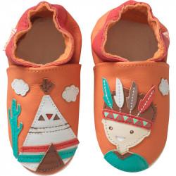 chaussons-bebe-cuir-souple-le-petit-indien-face