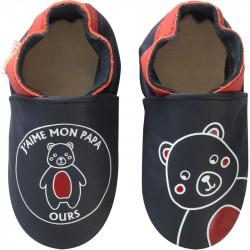 chaussons-bebe-cuir-souple-j-aime-mon-papa-ours-face