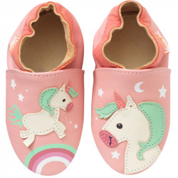 chaussons-bebe-cuir-souple-laura-licorne-face