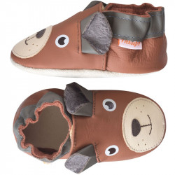 chaussons-bebe-cuir-souple-martin-ours-brun-profil
