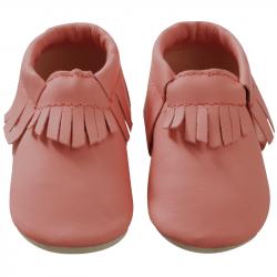 Chaussons-bebe-à-franges-rose-corail-face