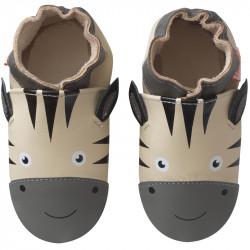 chaussons-bebe-cuir-souple-zack-zebre-face