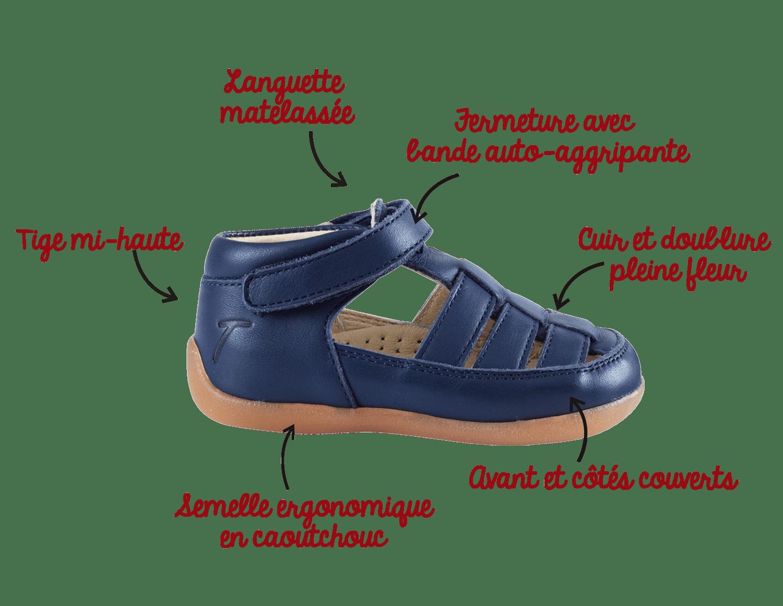 Marine Tichoups En Cuir Bébé Chaussures Marche Sandale De – Rocky XOPZuki